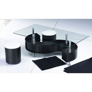 Tables  - S Shape Glass Top Wenge Coffee Table With Storage