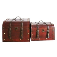 Storage Boxes  - Set of 2 Dark Wood Storage Trunks