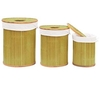 Set of 3 Bamboo Laundry Baskets With Liners