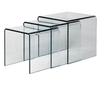 Set of 3 Bent Clear Glass Nesting Tables