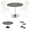 SPECIAL! Roma Black Glass Dining Set + Coffee + 2PC Side Tables