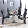 Spectra Clear Glass Dining Table With 4 Collete Black Chairs