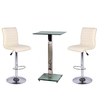 Spice Bar Table In Clear Glass With 2 Cream Ripple Bar Stools