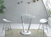 Twist Glass Bar Table In White With Chrome Pillars