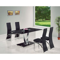 Dining Room Suites  - V Black Glass Dining Table + 6 G501 Dining Chairs