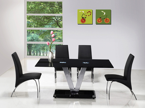 Dining Room Suites  - V Black Glass Dining Table + 6 G614 Full Dining Chairs