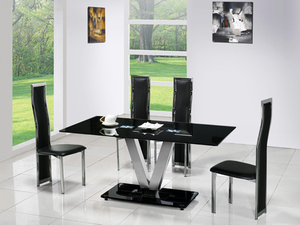 Dining Room Suites  - V Black Glass Dining Table + 6 G650 Dining Chairs