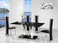 Dining Room Suites  - V Black Glass Dining Table And 4 G601 Dining Chairs