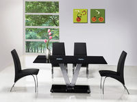 Dining Room Suites  - V Black Glass Dining Table And 4 G614 Full Dining Chairs