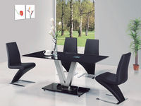 Dining Room Suites  - V Black Glass Dining Table And 4 G632 Dining Chairs