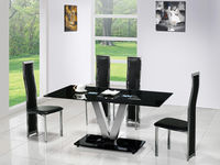 Dining Room Suites  - V Black Glass Dining Table And 4 G650 Dining Chairs