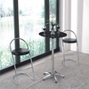 Vermont Bar Table Round In Black Glass With Chrome Legs