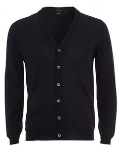 Hugo Boss Black Mens Cardigan,  Mardon-B Slim Fit Navy Blue Jumper