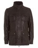 Hugo Boss Black Mens Coat,  Gembu Lambskin Collar Brown Leather Jacket