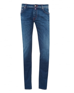 Jacob Cohen Mens Mid Whiskered Jeans,  Red Stitching Denim