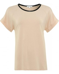 Patrizia Pepe Sheer Beige Top With Faux Leather Trim