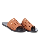 Low Shoes  - Sol Sana Womens Solo Slide Sandals, Tan Brown Leather Cut Out Mules