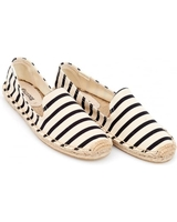 Low Shoes  - Soludos Womens Espadrille, Natural White Black Classic Stripe Smoking Slipper