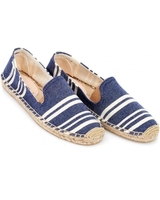 Low Shoes  - Soludos Womens Espadrille, Navy Candy Stripe Smoking Slipper