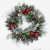 1.5ft Flocked Wreath with Red Baubles and Berries