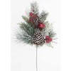 1.5ft Spray with Flocked Mixed Needles,  Red Baubles & Berries