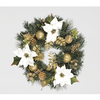18in/45cm White Poinsettia Wreath with Gilded Fruits