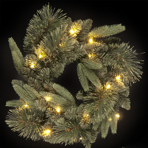 Christmas Decoration  - 18in/45cm Wreath with  Warm White LEDs