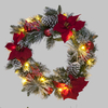2ft Frosted Red Poinsettia Wreath with Warm White LEDs