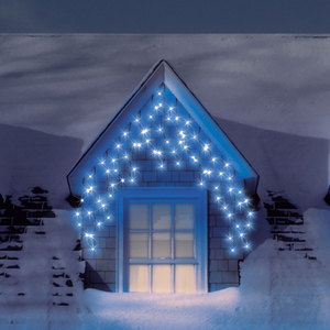 Christmas Decoration  - 4.6m/15ft Set of 200 Blue Multifunction Snowing Icicle LED Lights