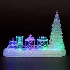 Christmas Decoration  - Acrylic Tree and Train  LED Table Decoration