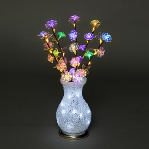 Vases|Christmas Decoration  - Acrylic Vase & Flowers with Multi-coloured, Ice & Warm White LEDs