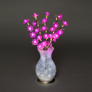 Vases|Christmas Decoration  - Acrylic Vase & Flowers with Pink, Ice & Warm White LEDs