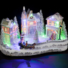 Battery Operated Polyresin Christmas Street Scene with LED Lights