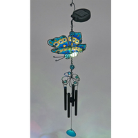 Garden Glows Solar Powered Blue Glass Butterfly Wind Chime