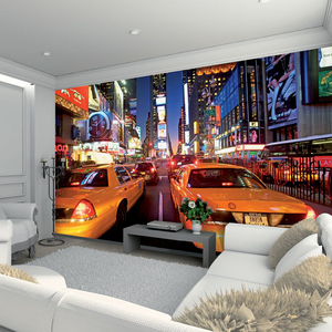 Dining Room  - New York Yellow Cabs & Times Square Wallpaper Mural