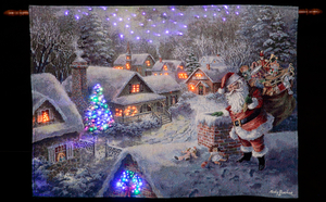 "Christmas Decoration  - Nicky Boehme ""Bringing Joy and Happiness"" Illuminated Hanging Tapestry"