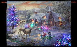 "Christmas Decoration  - Nicky Boehme ""Christmas Cottage"" Illuminated Hanging Tapestry"