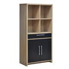 Oak and Black Tamara Open Display with 2 Doors and 1 Drawer