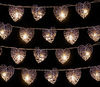 Set of 20 Small Brown Rattan Heart Lights with 20 Warm White LEDs