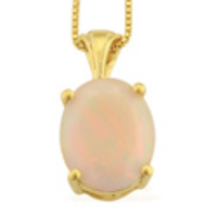 Jewellery  - Ethiopian Welo Opal (Ovl) Pendant With Chain in 14K Gold Overlay Sterling Silver 1.75 Ct.