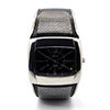 GENOA Black Japanese Miyota 2035 Movement Cuff Watch in ION Plated Silver Stainless Steel Water Resistant
