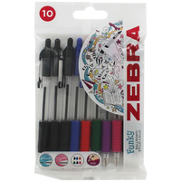 Arts & Crafts Supplies  - 10 Assorted Z-Grip Smooth Ball Retractable Pen