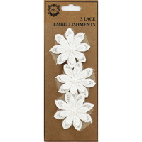 Arts & Crafts Supplies  - Lace Flower Embellishments - Pack Of 3
