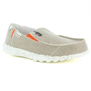 Hey Dude Farty Funk Mens Casual Canvas Slip-On Shoes - Beige