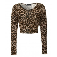 T-Shirts, Polos & Tops  - Leopard Print long Sleeve Crop Top