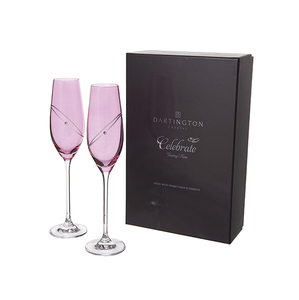 Home & Garden  - Dartington Glitz Celebration Flutes - Ruby (Pink)