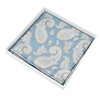 Blue,  Silver & Beige Paisley Patterned Silk Pocket Square Handkerchief
