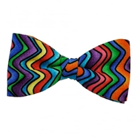 Ties & Bowties  - Multi Coloured Zig Zag Striped Patterned Bow Tie