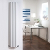 Milano Aruba - White Narrow Vertical Designer Radiator 1600mm x 236mm (Double Panel)