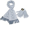 Clothing & Accessories Lovarzi Blue & White Fair Isle Knitted Women's Merino Wool Scarf & Gloves Set - Lovarzi - Gorgeous Fairisle Winter Scarf And Glove Set For Women - Made In Scotland - Ladies Scarves